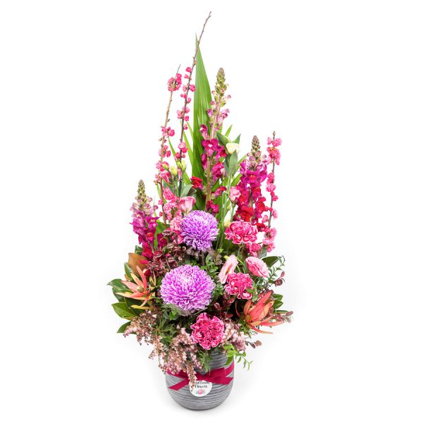 bright Flower arrangement by Red Earth Flowers