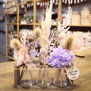 Small Triple Vial Dried Flower Arrangement by Red Earth Flowers Kilsyth